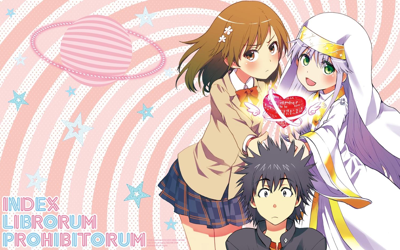 blush index kamijou_touma kogino_chuuya misaka_mikoto nun school_uniform to_aru_majutsu_no_index