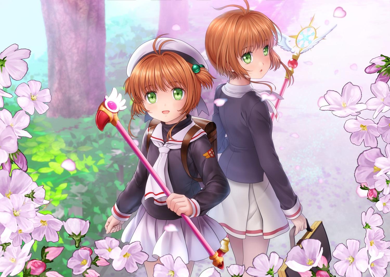 brown_hair card_captor_sakura flowers kinomoto_sakura loli moonknives school_uniform short_hair wand