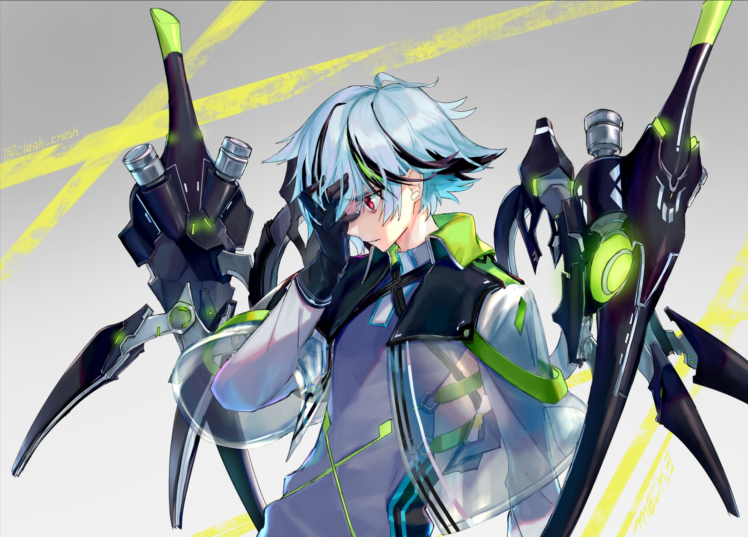 aliasing all_male aqua_hair canata_katana cape gloves male mecha original red_eyes see_through short_hair signed
