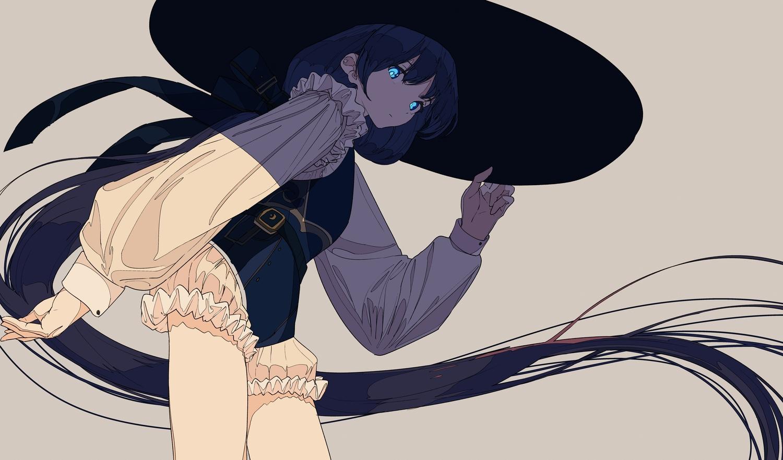 black_hair blue_eyes hat kogecha_(coge_ch) long_hair original