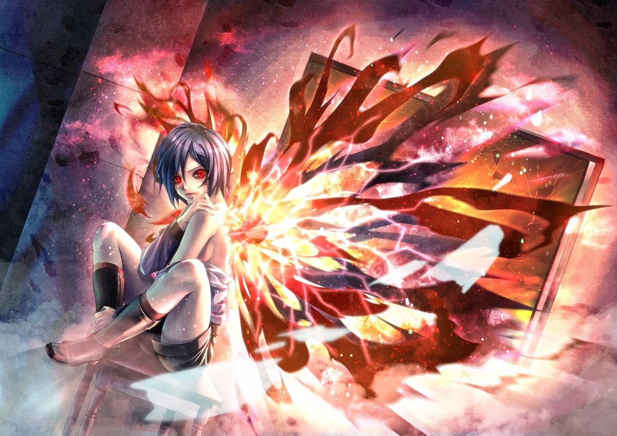 black_hair boots kirishima_touka kneehighs kotatsu_(kotatsu358) red_eyes short_hair shorts sideboob tokyo_ghoul wings