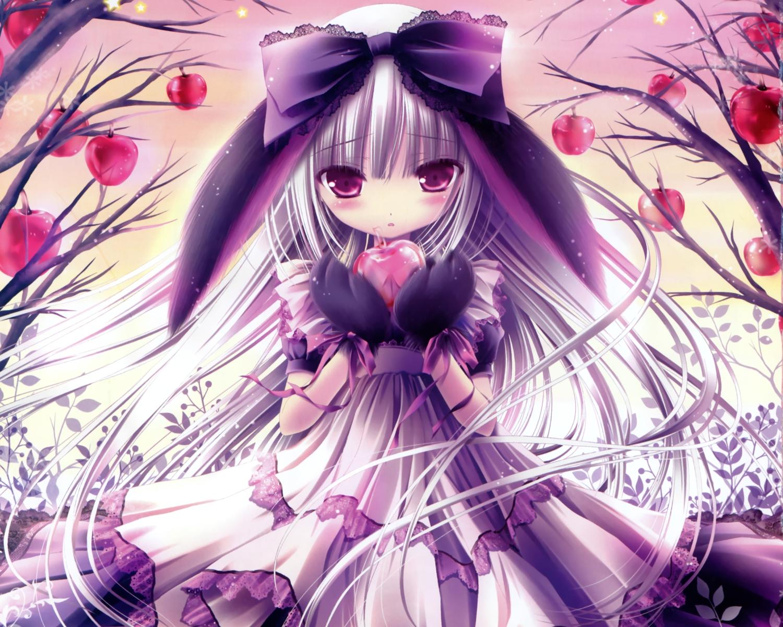 animal_ears apple blush bow cropped dress food fruit gloves gray_hair original purple_eyes scan tinkle