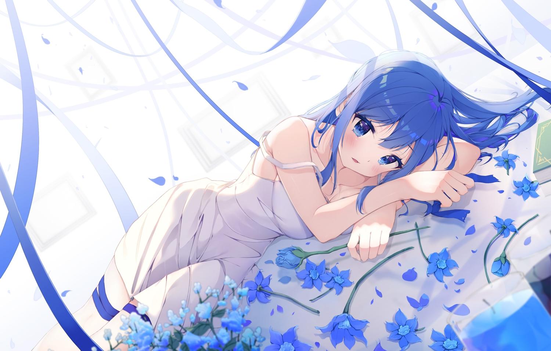 blue_eyes blue_hair blush dress flowers jpeg_artifacts keis_(locrian1357) long_hair original ribbons summer_dress