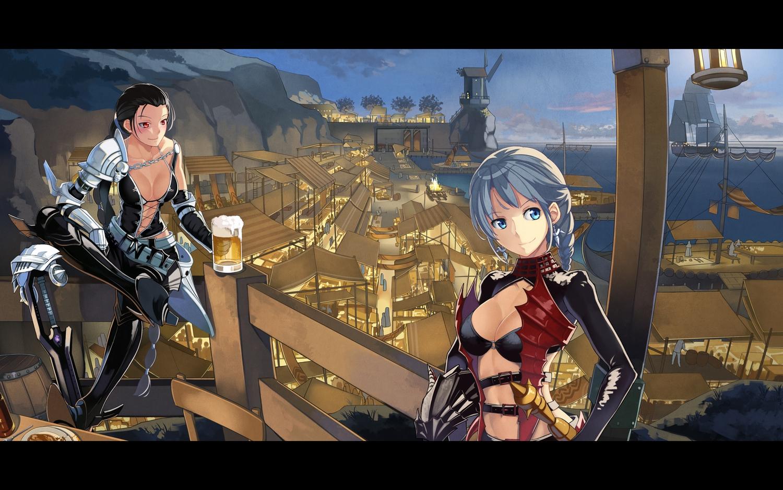 2girls armor beek black_hair blue_eyes breasts city cleavage drink gray_hair long_hair mabinogi mabinogi_heroes red_eyes weapon