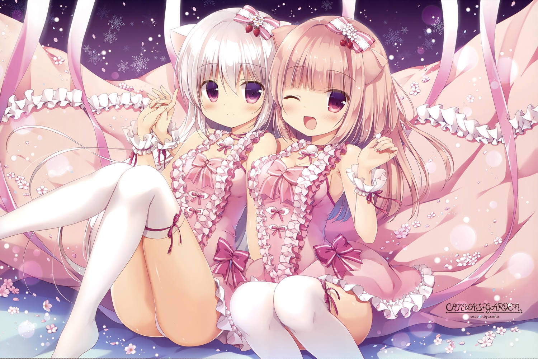 2girls animal_ears ass blush bow breasts flowers gray_hair long_hair miyasaka_nako panties petals purple_eyes ribbons scan thighhighs underwear watermark wink