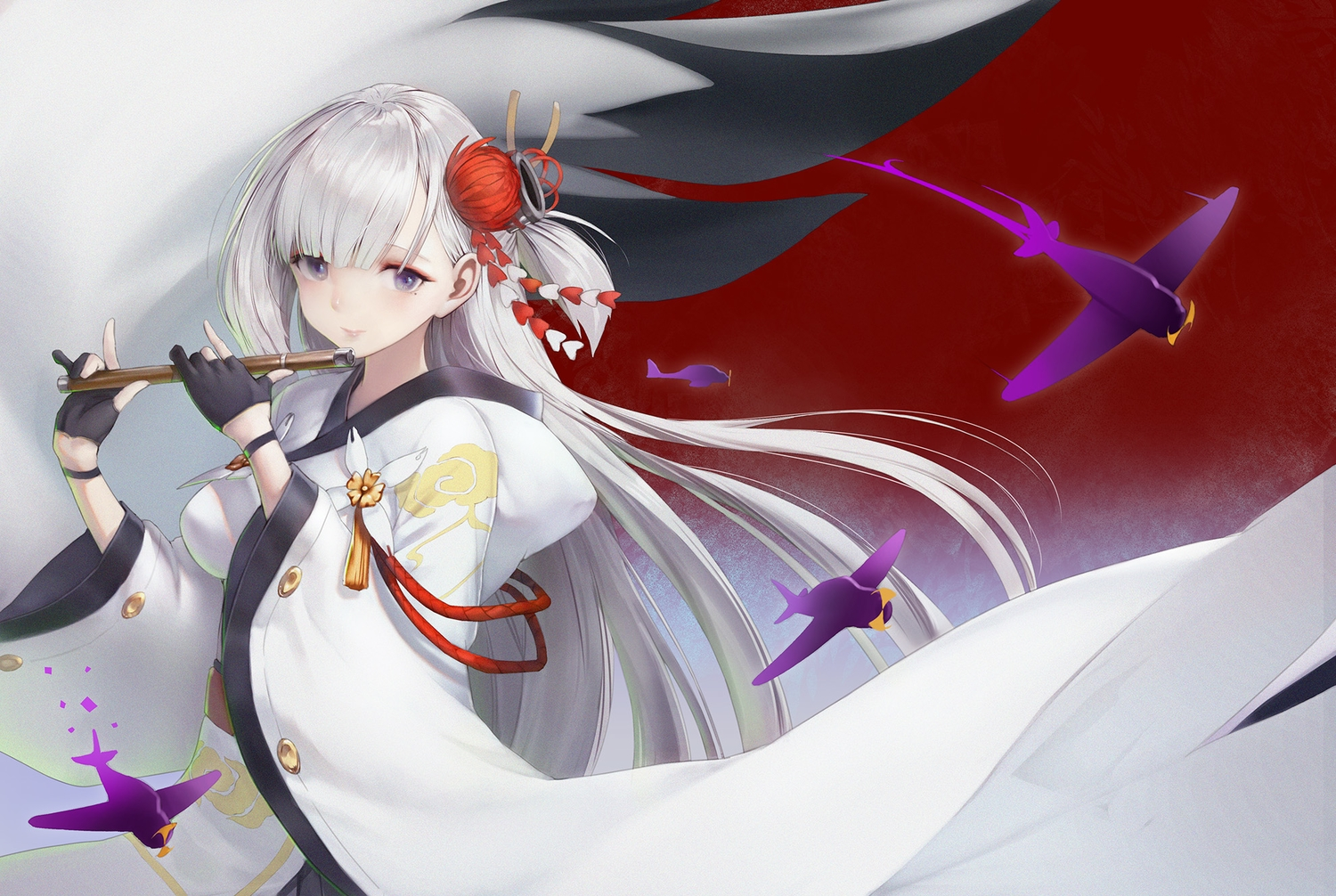 aircraft anthropomorphism azur_lane flute gloves haori_iori hoodie instrument japanese_clothes long_hair purple_eyes shoukaku_(azur_lane) white_hair