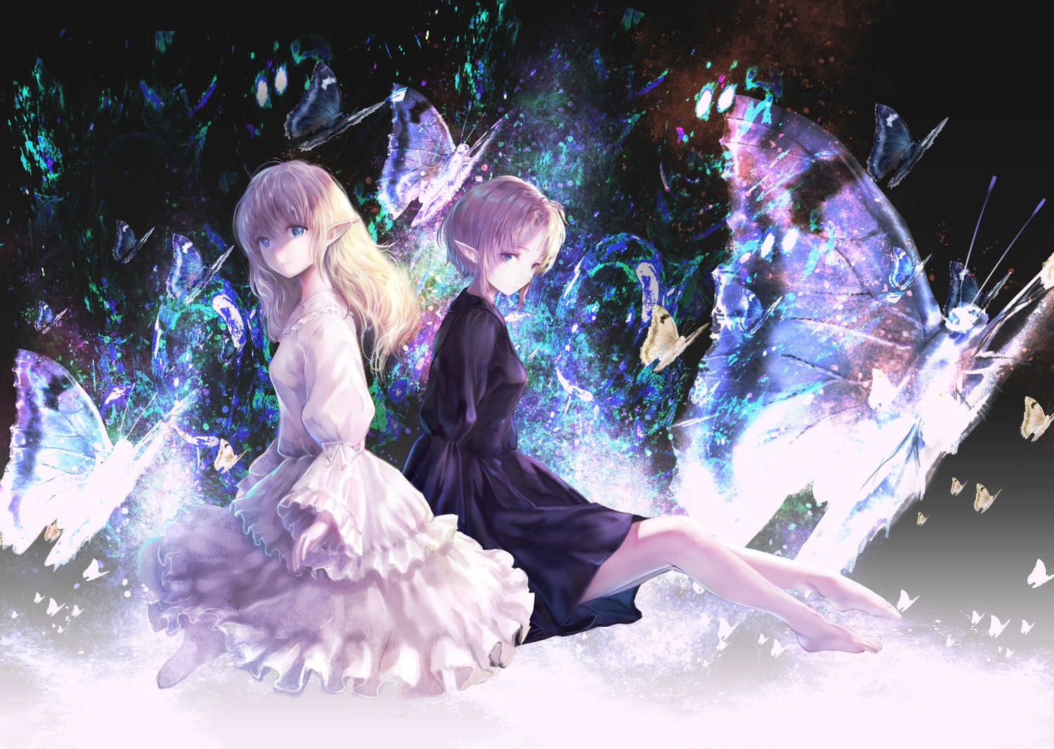 2girls butterfly dress haori_iori long_hair original pointed_ears short_hair thighhighs