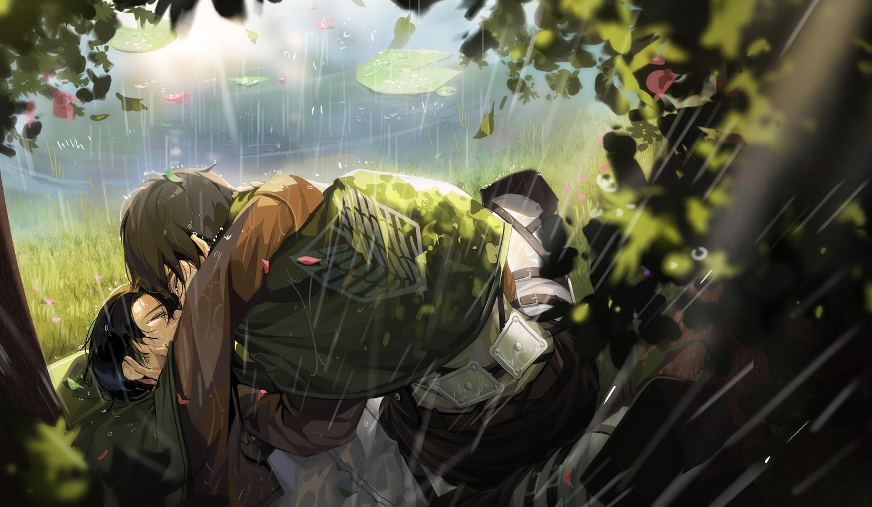 all_male black_hair brown_hair eren_jaeger levi_ackerman male monosucre rain shingeki_no_kyojin short_hair shounen_ai water wet