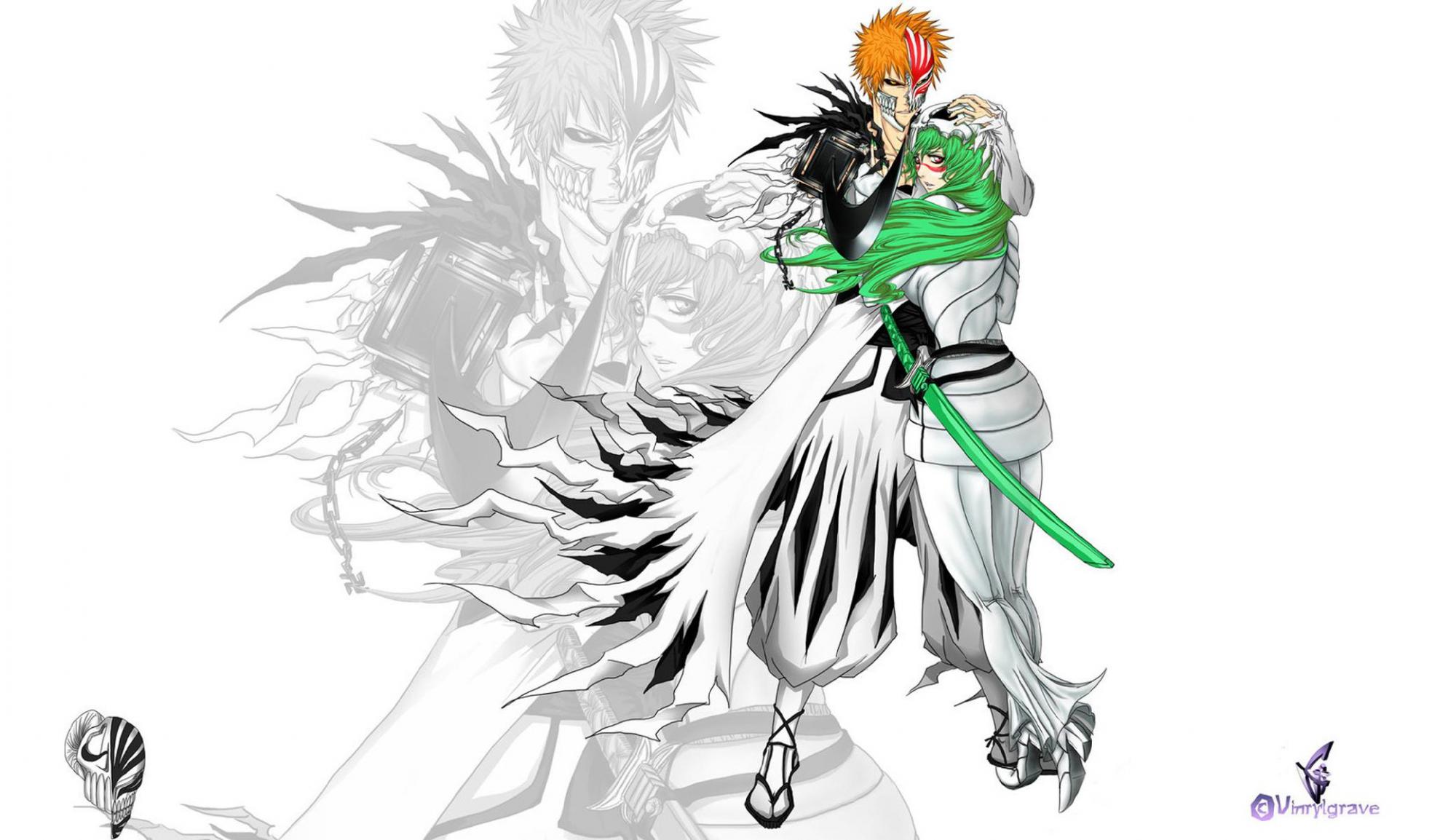 Bleach Green Hair Kurosaki Ichigo Long Hair Male Neliel Tu