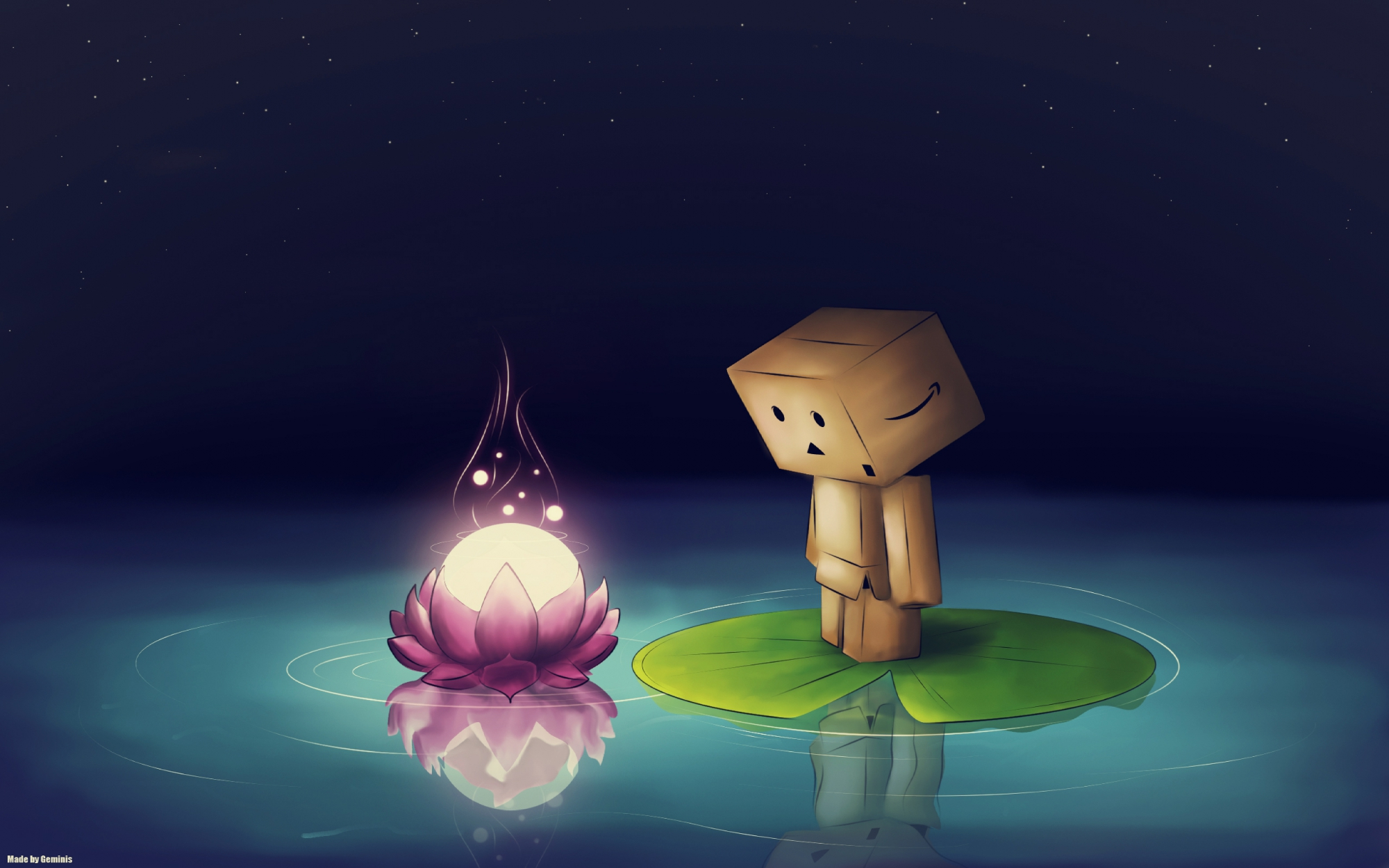 danboo reflection sky stars water yotsubato!