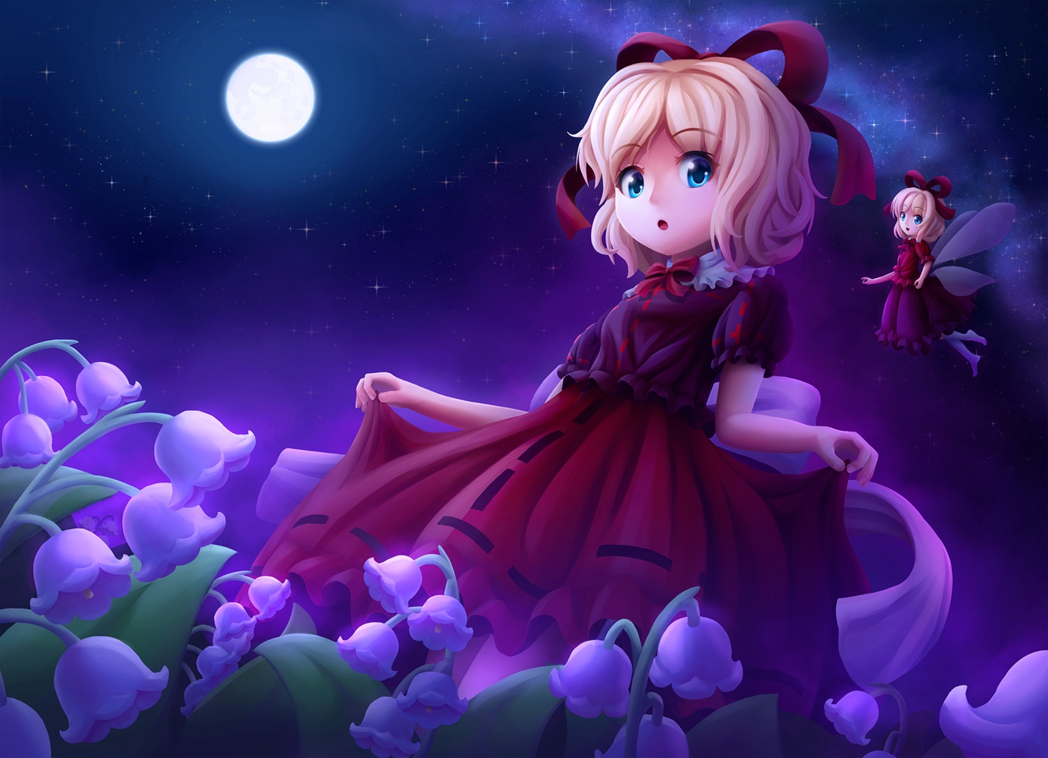 aqua_eyes blonde_hair bow dress fairy loli medicine_melancholy moon night short_hair skirt_lift sky solmyr2000 stars su-san touhou wings