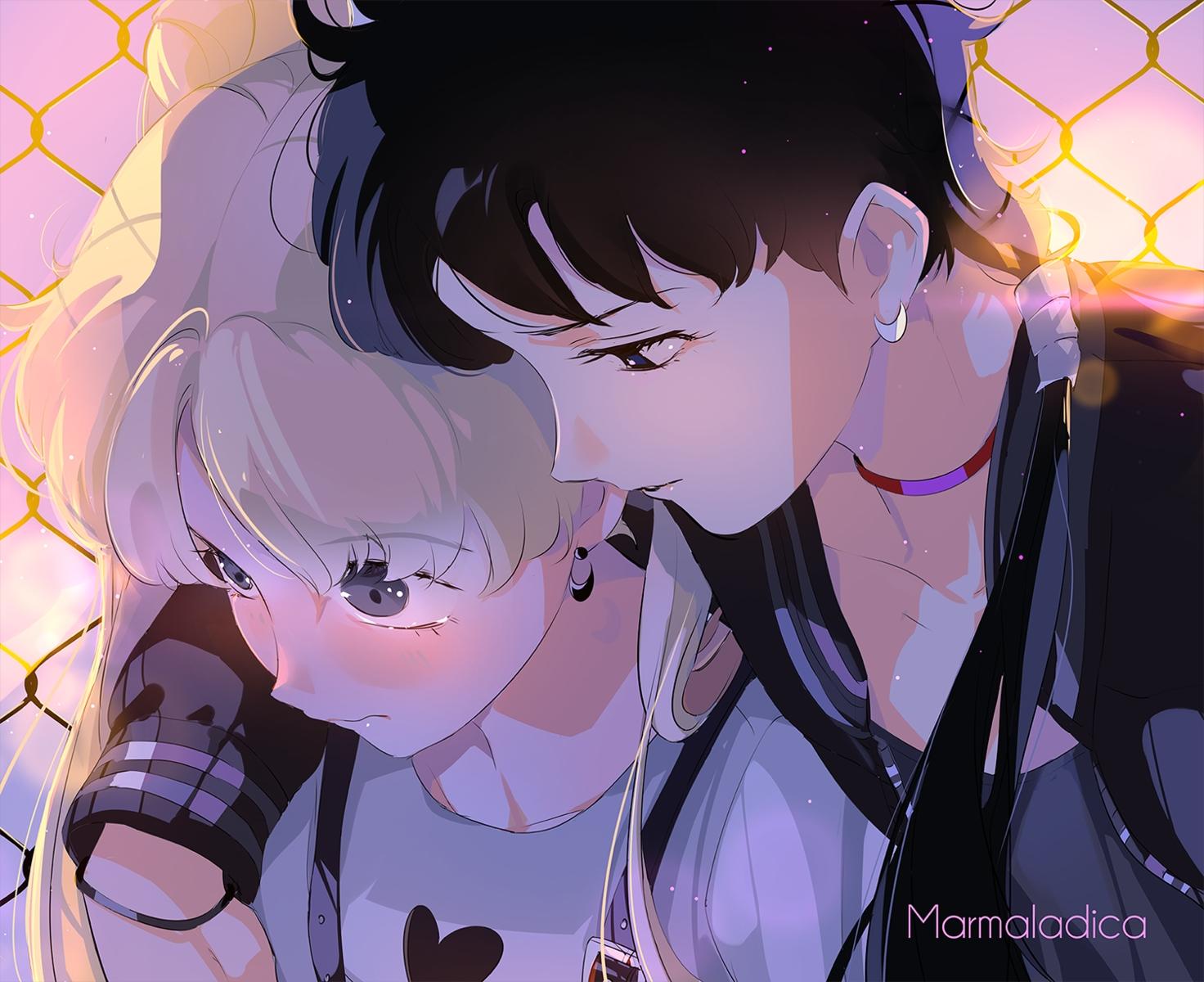 2girls close kou_seiya marmalade_(elfless_vanilla) sailor_moon shoujo_ai tsukino_usagi watermark