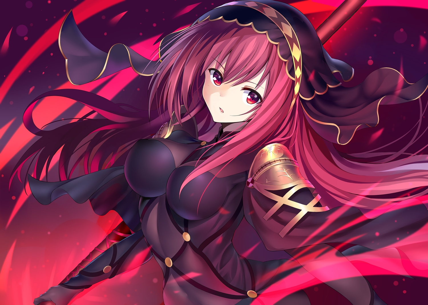 bodysuit breasts fate/grand_order fate_(series) headdress long_hair nagiha_kuten red_eyes red_hair scathach_(fate/grand_order) spear weapon