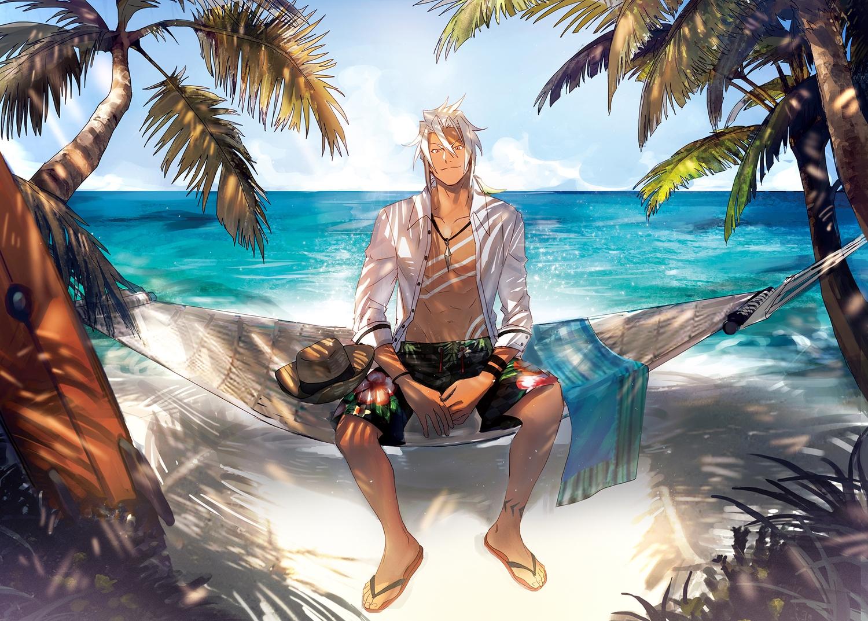 all_male beach clouds dark_skin hat male navel necklace open_shirt orange_eyes ponytail shade shirt sky swimsuit tales_of_zestiria tattoo tree water white_hair wristwear yarr zaveid