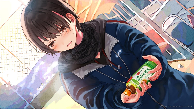 black_hair blush brown_eyes close drink hanekoto hoodie original scarf short_hair suntory waifu2x watermark