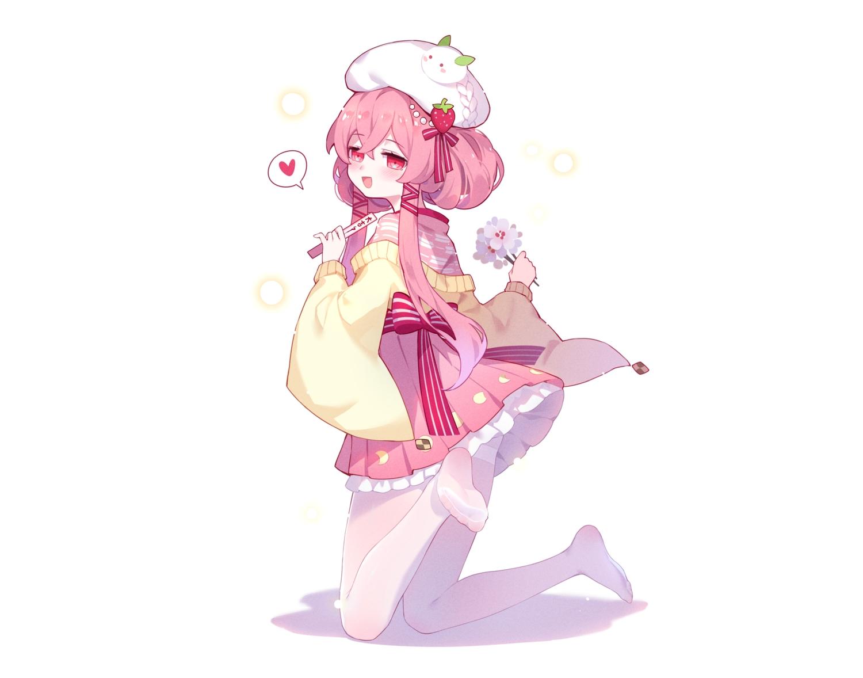 blush flowers hat heart honkai_impact japanese_clothes lolita_fashion long_hair pantyhose pink_eyes pink_hair tagme_(character) tsubasa_tsubasa white