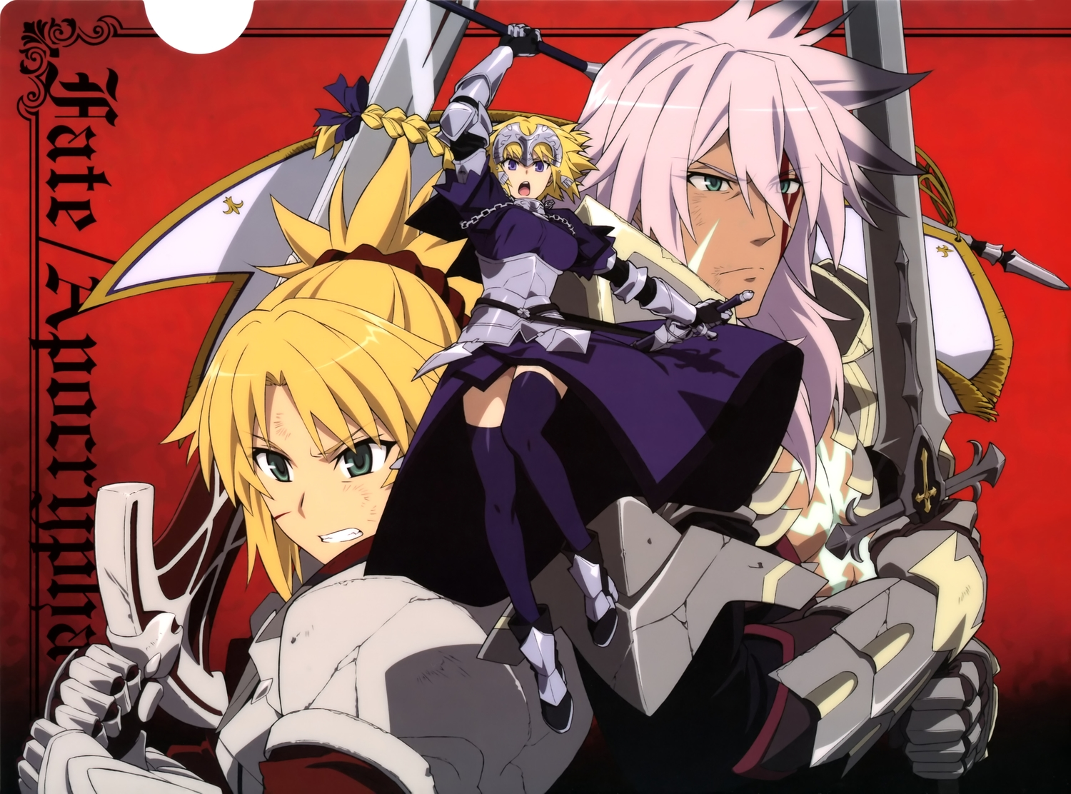 armor blonde_hair braids chain elbow_gloves fate/apocrypha fate_(series) gloves green_eyes jeanne_d'arc_(fate) long_hair male mordred ponytail purple_eyes scan siegfried spear sword tagme_(artist) weapon