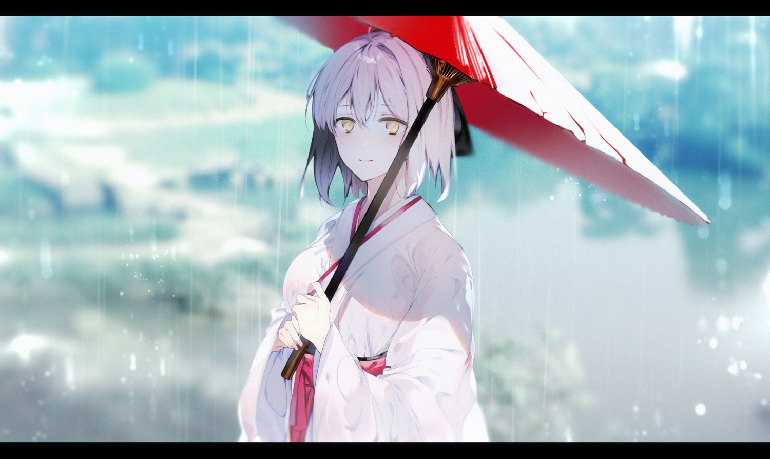 fate/grand_order fate_(series) japanese_clothes kimono leo_(feeling_goooood) okita_souji_(fate) rain umbrella water