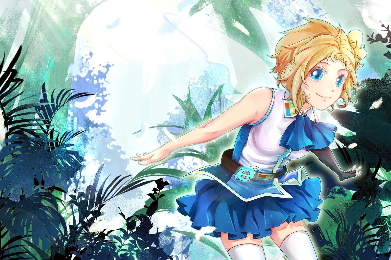 aizawa_inori aliasing blonde_hair blue_eyes internet_explorer microsoft os-tan short_hair skirt thighhighs zettai_ryouiki