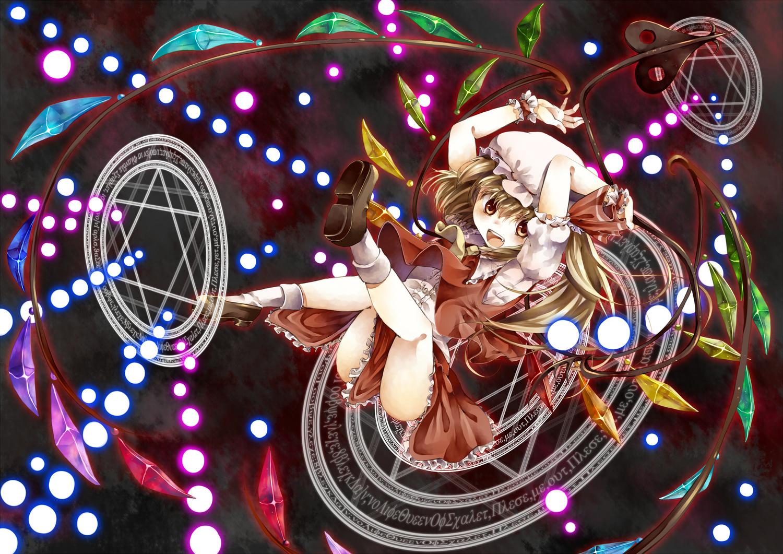 brown_eyes brown_hair flandre_scarlet hat icanfry long_hair magic socks touhou vampire weapon wings