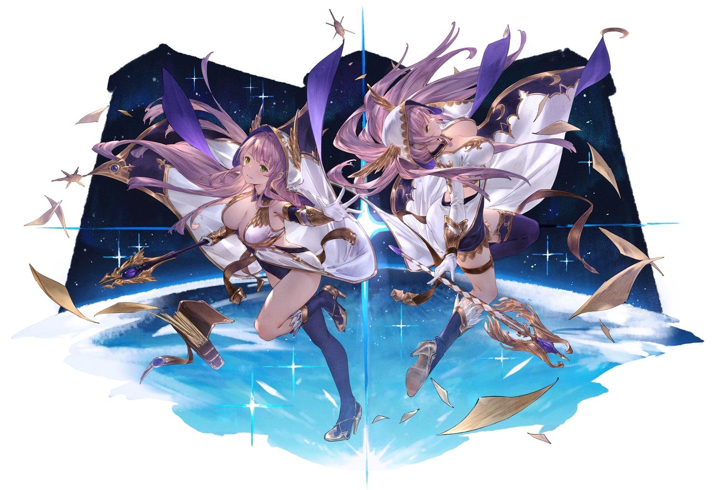 2girls breasts cangkong cleavage green_eyes hoodie long_hair original purple_hair staff thighhighs twins water