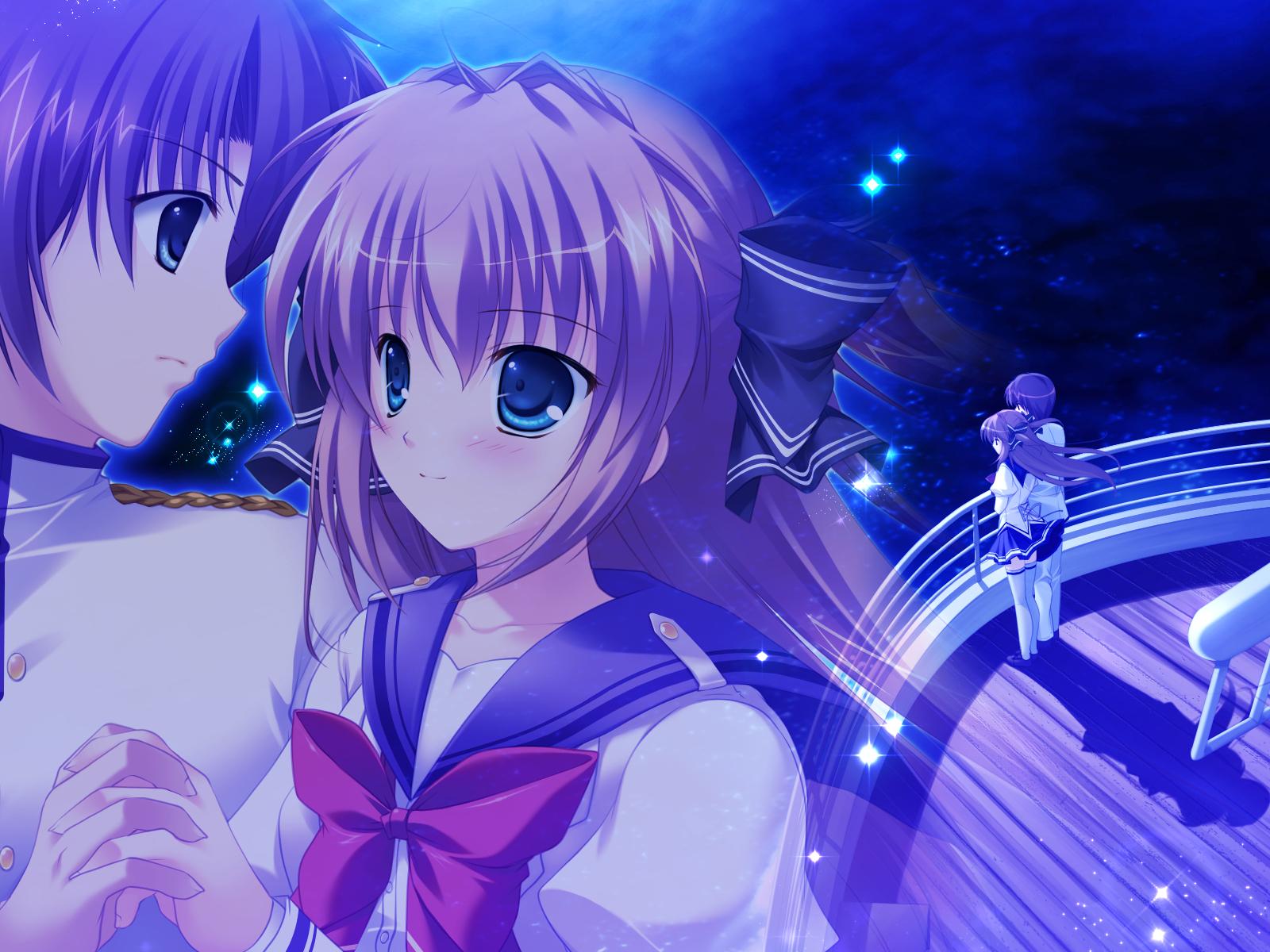 asuka_mirai blue_eyes bow brown_hair game_cg journey mikeou nanairo_kouro night school_uniform thighhighs