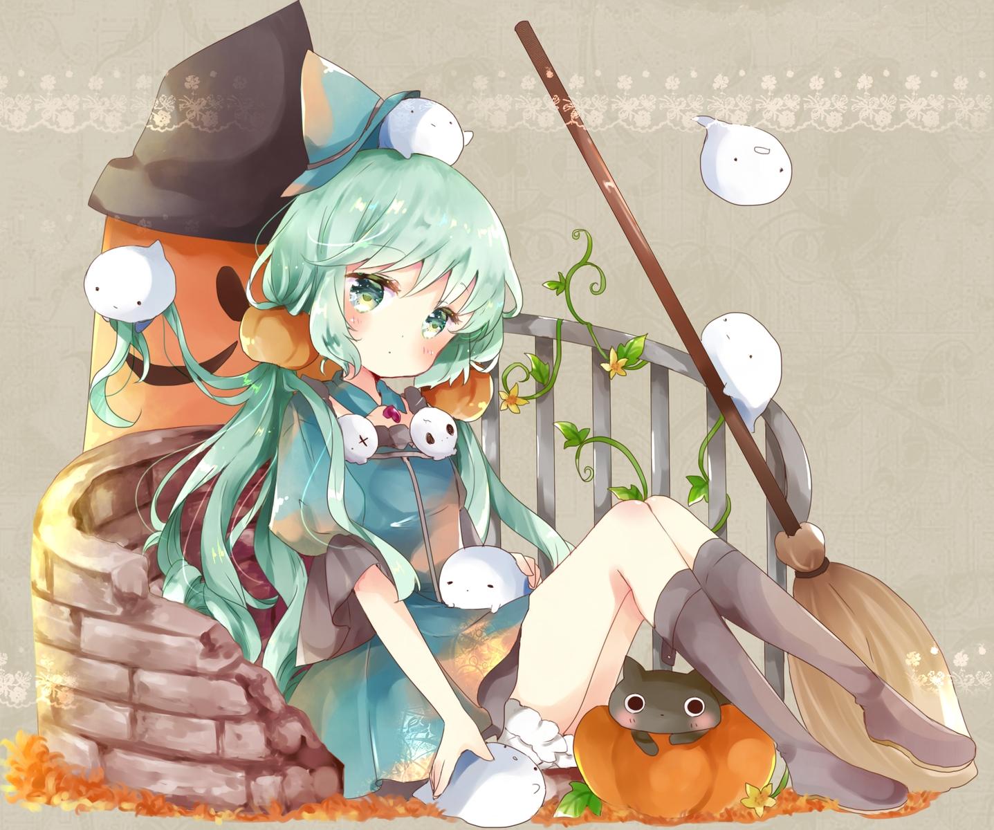 animal aqua aqua_eyes aqua_hair bloomers boots cat dress flowers halloween hat original pumpkin tsukiyo_(skymint) witch witch_hat