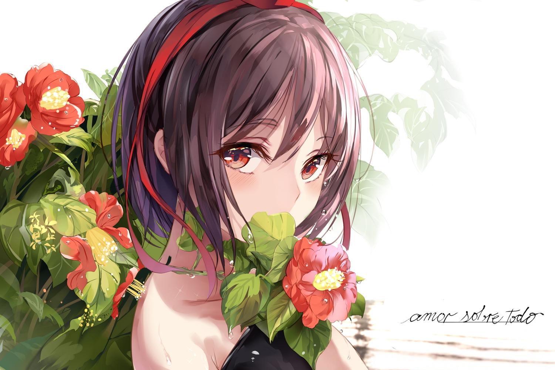 brown_hair close fallen_heaven flowers red_eyes ribbons shameimaru_aya short_hair touhou