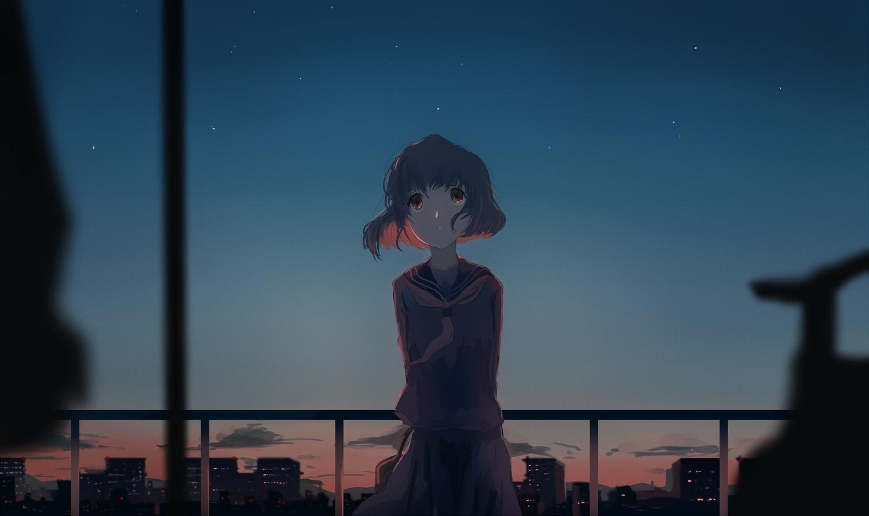 building city clouds mifuru original school_uniform short_hair skirt sky