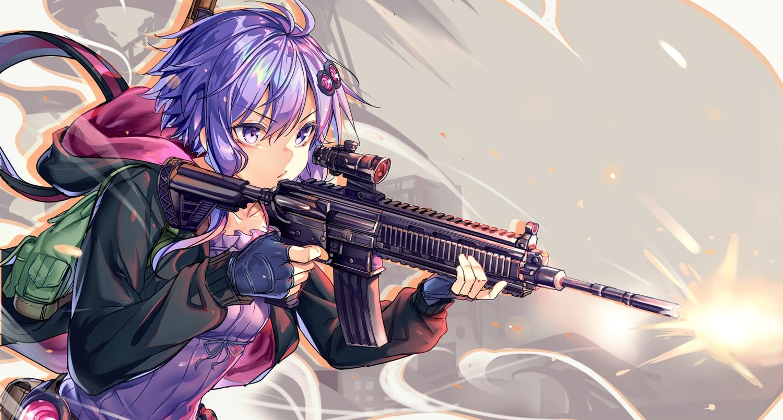 ajishio cropped gloves gun hoodie purple_eyes purple_hair vocaloid voiceroid weapon yuzuki_yukari