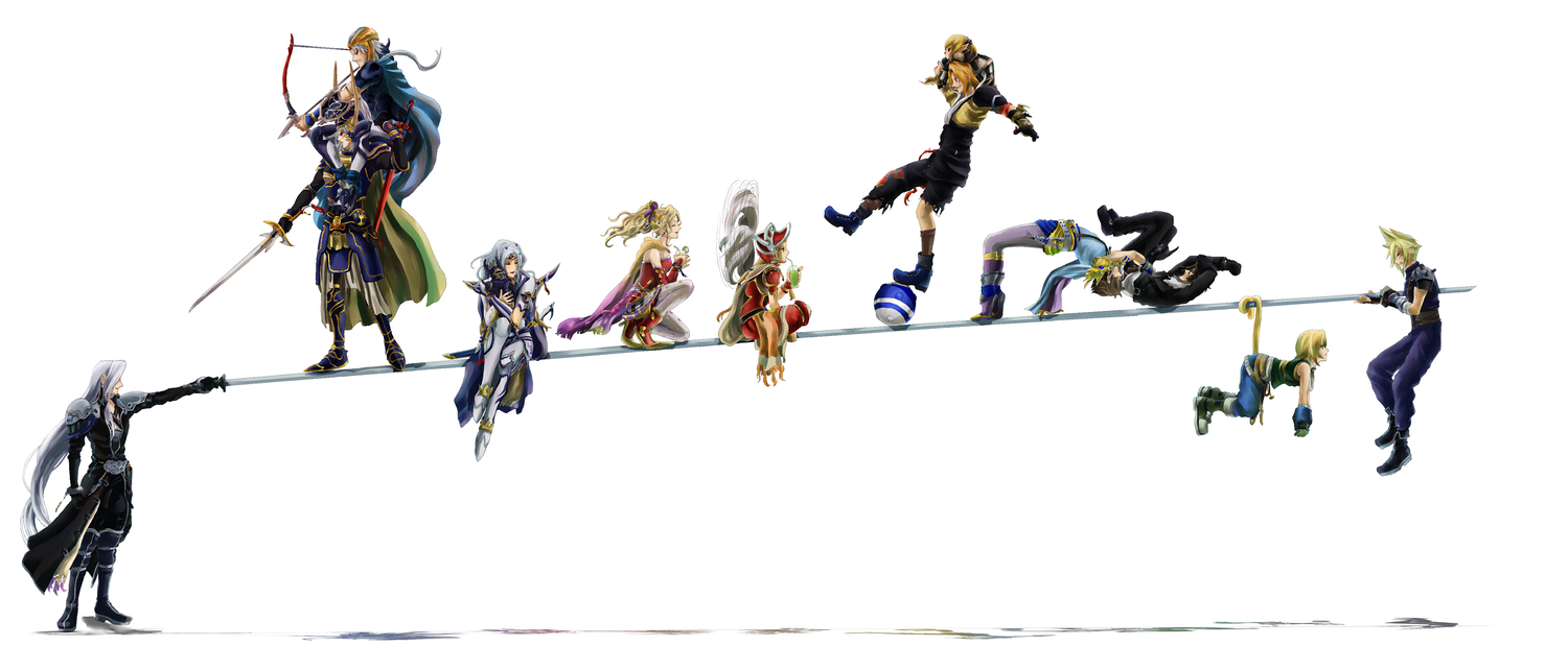 aliasing bow_(weapon) butz_klauser cecil_harvey cloud_strife final_fantasy frioniel golbeza male niboshi514 onion_knight sephiroth shantotto squall_leonhart sword tail tarutaru tidus tina_branford warrior_of_light weapon zidane_tribal