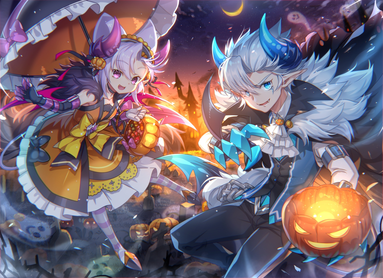 aqua_eyes capura_lin grand_chase halloween loli male pink_eyes pumpkin purple_hair tagme_(character) white_hair