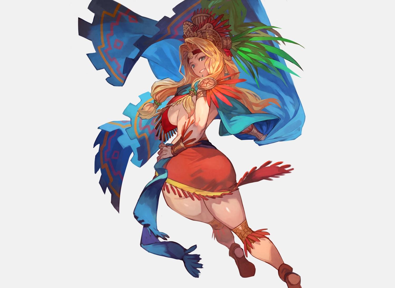 ass blonde_hair boots breasts fate/grand_order fate_(series) green_eyes headdress lack long_hair quetzalcoatl_(fate/grand_order) sideboob wristwear