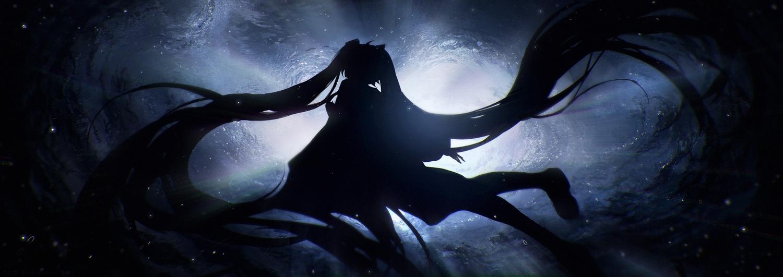 dark hatsune_miku lengchan_(fu626878068) long_hair silhouette twintails underwater vocaloid water
