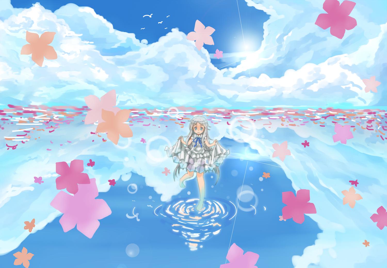 ano_hi_mita_hana_no_namae_wo_bokutachi_wa_mada_shiranai blue_eyes clouds dress flowers gray_hair honma_meiko long_hair srx61800 water