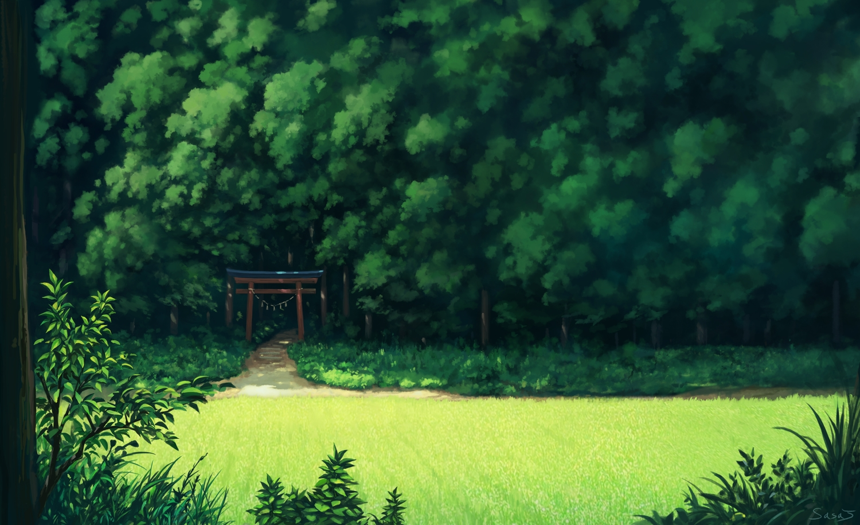 forest grass green landscape nobody original sasajqazwsx scenic torii tree