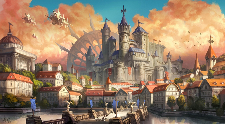 aircraft airship building city clouds original scenic signed sky water zerakim