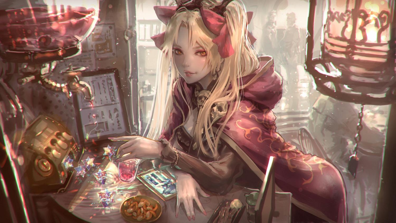 blonde_hair cape drink ereshkigal_(fate/grand_order) fate/grand_order fate_(series) food hoodie jpeg_artifacts kaburagi_yasutaka long_hair orange_eyes twintails