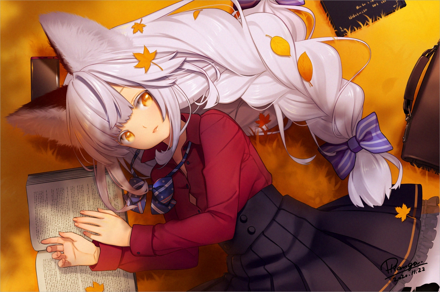 animal_ears autumn book braids close foxgirl leaves long_hair nana_mikoto orange_eyes original ponytail school_uniform shirt skirt white_hair