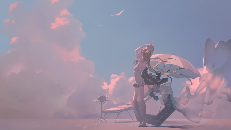 abigail_williams_(fate/grand_order) animal aqua_eyes barefoot blonde_hair braids cat clouds drink fate/grand_order fate_(series) long_hair saihate scenic sky swimsuit umbrella