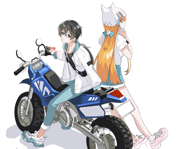 black_eyes black_hair braids gloves hat kirigaya_kazuto long_hair mona0101 motorcycle orange_hair short_hair shorts sketch sword_art_online yuuki_asuna