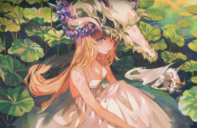blue_eyes breasts cleavage dragon dress headdress kanekiru leaves long_hair orange_hair original skull summer_dress water