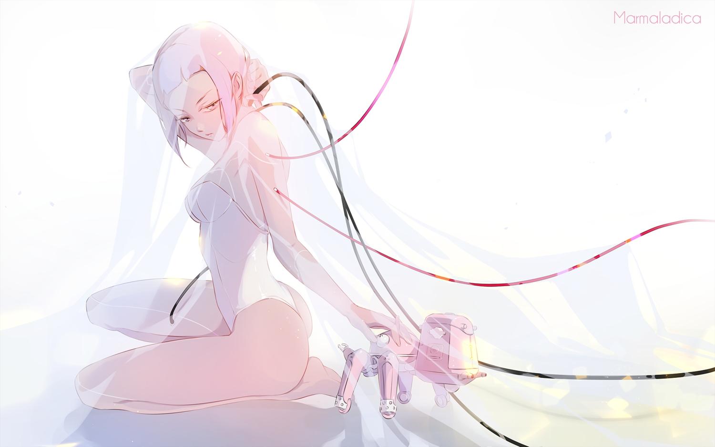 ass barefoot bodysuit breasts ghost_in_the_shell kusanagi_motoko marmaladica pink_eyes pink_hair robot short_hair tachikoma techgirl