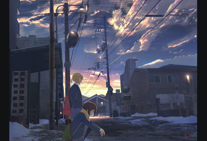 2girls building clouds original scarf scenic school_uniform signed sky snow yukimachi_(yuki_no_city)