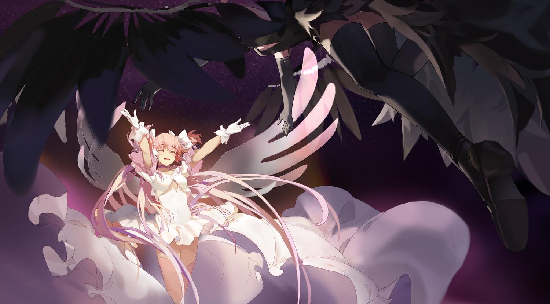 2girls akemi_homura akuma_homura bow dress gloves kaname_madoka long_hair mahou_shoujo_madoka_magica pink_hair shuang_ye thighhighs twintails ultimate_madoka wings