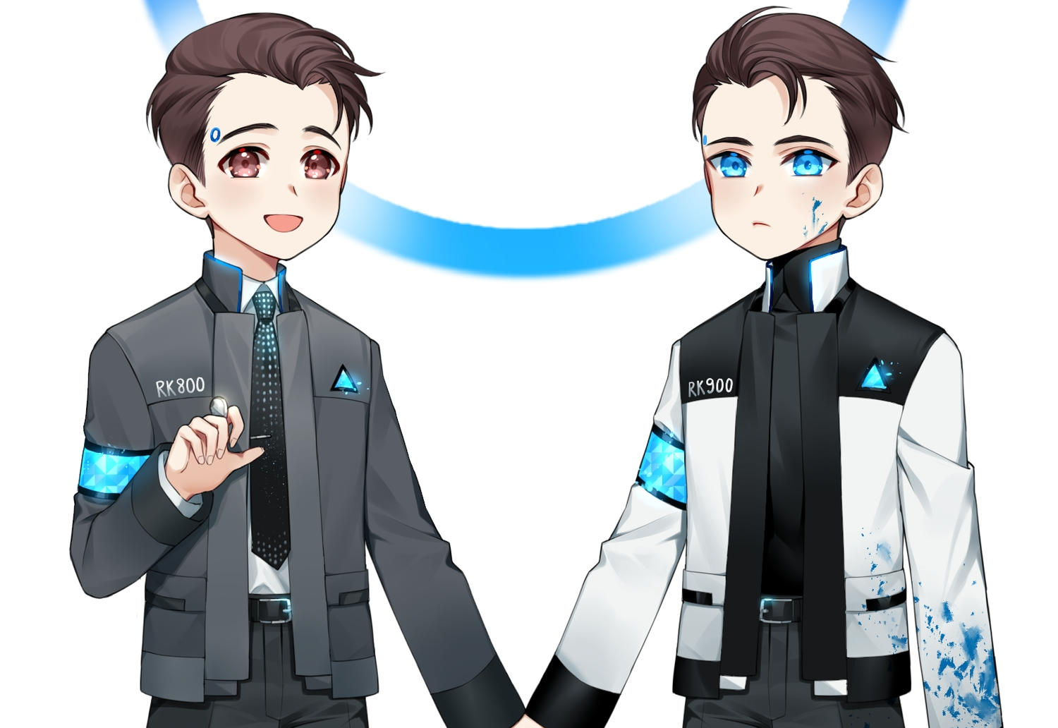 all_male aqua_eyes blood brown_eyes brown_hair connor_(detroit:_become_human) detroit:_become_human male robot short_hair suit tagme_(artist) tie white