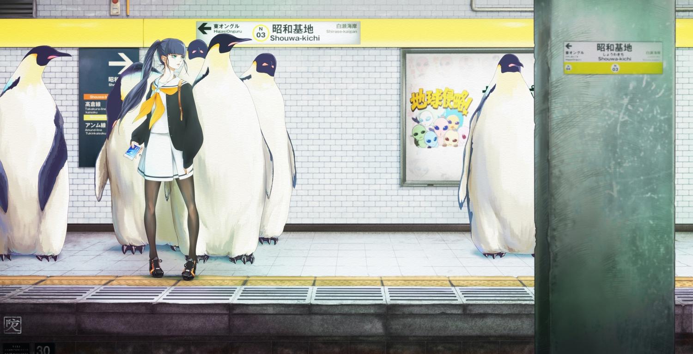 animal bird black_hair blue_eyes long_hair original pantyhose penguin phone ponytail sakimori_uta school_uniform train watermark