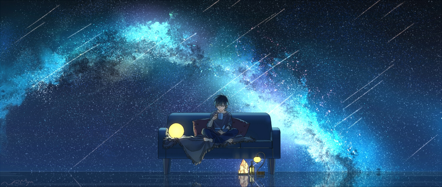 barefoot black_hair drink narumiya_(040miya) night original scenic short_hair signed stars