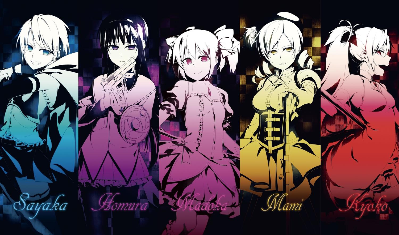 akemi_homura kaname_madoka mahou_shoujo_madoka_magica miki_sayaka polychromatic sakura_kyouko sizuka_(takuma0) tomoe_mami