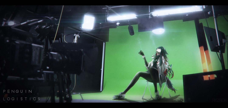 arknights black_hair camera long_hair rkzrok smoking tail texas_(arknights) watermark